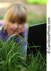 little girl with a laptop,
