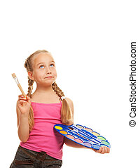 Beautiful little girl with a paintbrush, Isolated on white