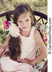 beautiful little girl with flowing hair