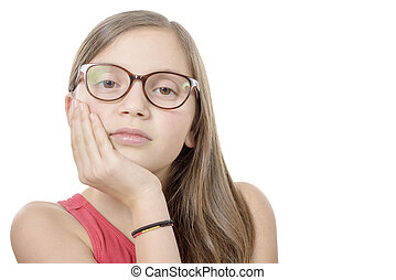 Beautiful little girl with glasses isolated on white background