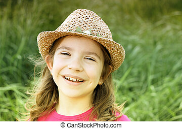 beautiful little girl with hat portrait