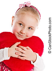 little girl with heart