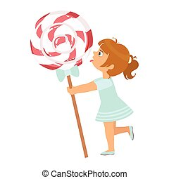 Beautiful little girl with huge lollipop, a colorful character