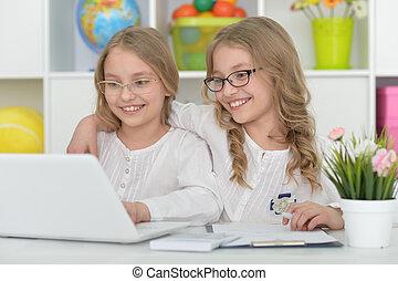 beautiful little girls at class - Two beautiful little girls...