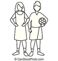beautiful little kids couple characters vector illustration...