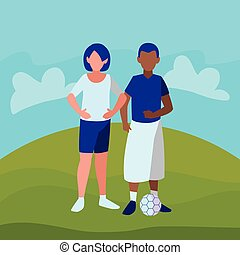 beautiful little kids couple interracial characters vector...
