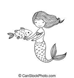 Beautiful little mermaid and fish. Siren. Sea theme. Hand ...