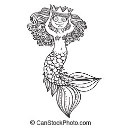 Beautiful little mermaid tries on crown outlined
