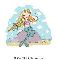 Beautiful little mermaid with seashell. Siren. Sea theme.