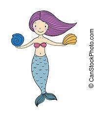 Beautiful little mermaid with shells.