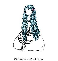 Beautiful little mermaid with shells. Siren.