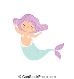 Beautiful Little Mermaid with Violet Hair, Cute Sea Princess Character Vector Illustration