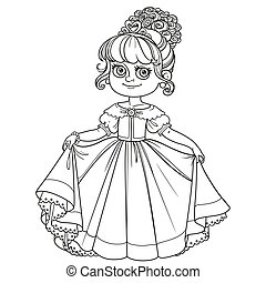 Beautiful little princess curtsies outlined for coloring book isolated on white background