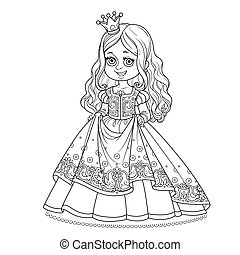 Beautiful little princess decorated pattern with birds outlined for coloring book isolated on white background