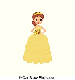 Beautiful little princess in a golden dress and tiara vector Illustration on a white background
