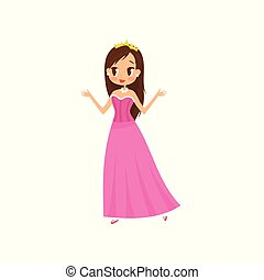 Beautiful little princess in a pink dress and tiara vector Illustration on a white background