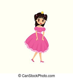 Beautiful little princess in a short pink dress and crown vector Illustration on a white background
