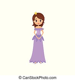 Beautiful little princess in a violet dress and crown vector Illustration on a white background