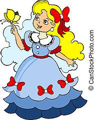 Beautiful little princess in blue dress. Vector illustration