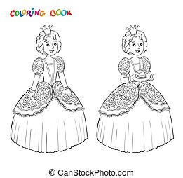 Beautiful little princess outlined for coloring book isolated on white background