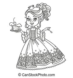 Beautiful little princess with delicious cake on a plate outlined for coloring book isolated on white background