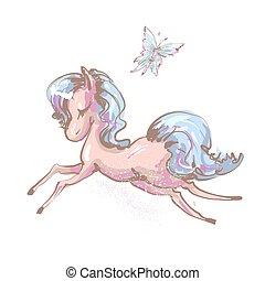 Beautiful little unicorn flying with butterfly vector...