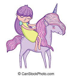 beautiful little unicorn with princess characters