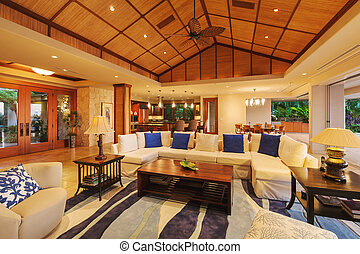 Living Room in Luxury Home - Beautiful Living Room in Luxury...