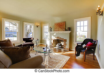 Beautiful living room with old fireplace and natural tone -...