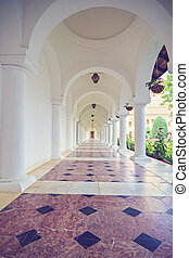 beautiful lobby with white columns