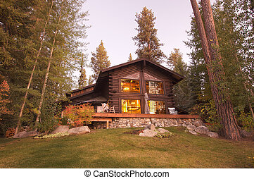 Beautiful Log Cabin Exterior Among Pine Trees