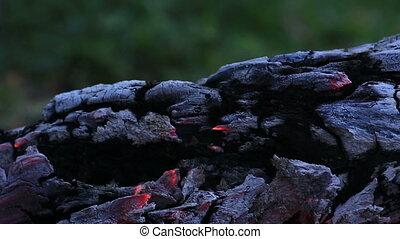 Beautiful log smoldering in fire. - Beautiful log smoldering...