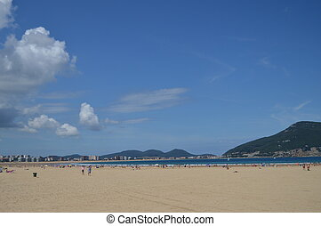 Beautiful Long And Wide Beach In Laredo. August 27, 2013. Laredo, Cantabria, Spain. Vacation Nature Street Photography.