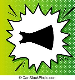 Beautiful long dress sign. Black Icon on white popart Splash at green background with white spots. Illustration.