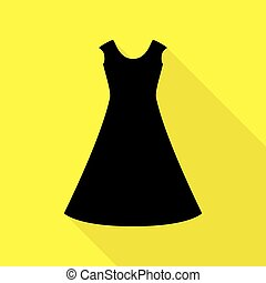 beautiful long dress sign Black icon with flat style shadow path on yellow background.