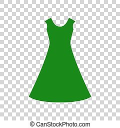 beautiful long dress sign Dark green icon on transparent background.
