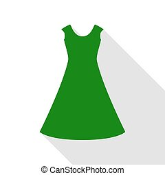 beautiful long dress sign Green icon with flat style shadow path.