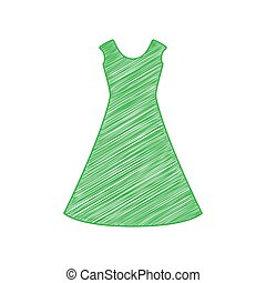 Beautiful long dress sign. Green scribble Icon with solid contour on white background. Illustration.