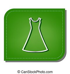 Beautiful long dress sign. Silver gradient line icon with dark green shadow at ecological patched green leaf. Illustration.