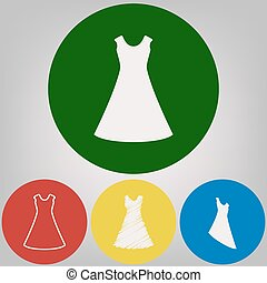 Beautiful long dress sign. Vector. 4 white styles of icon at 4 colored circles on light gray background.