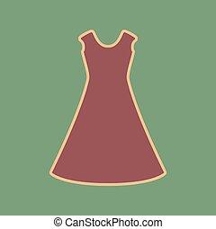 Beautiful long dress sign. Vector. Cordovan icon and mellow apri