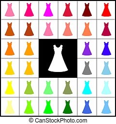 beautiful long dress sign. Vector. Felt-pen 33 colorful icons at white and black backgrounds. Colorfull.