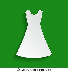 Beautiful long dress sign. Vector. Paper whitish icon with soft shadow on green background.