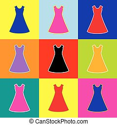 beautiful long dress sign Vector. Pop-art style colorful icons set with 3 colors.