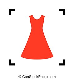 beautiful long dress sign Vector. Red icon inside black focus corners on white background. Isolated.