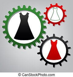 Beautiful long dress sign. Vector. Three connected gears with ic