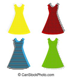 Beautiful long dress sign. Vector. Yellow, red, blue, green icon