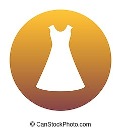 beautiful long dress sign White icon in circle with golden gradi