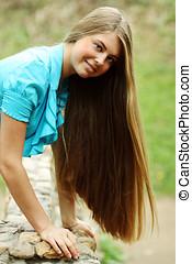Beautiful long hair blonde woman