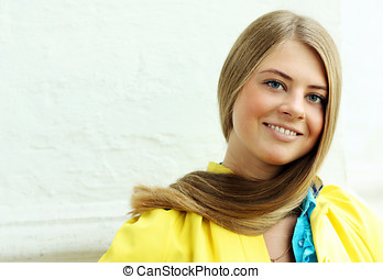 Beautiful long hair blonde woman